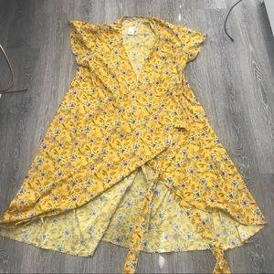 NWT LOFT plus size 24 yellow wrap dress